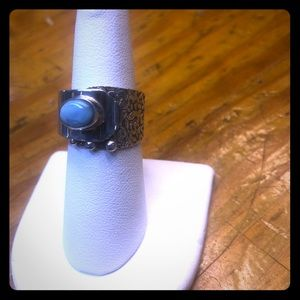 ADJUSTABLE larimar and sterling ring